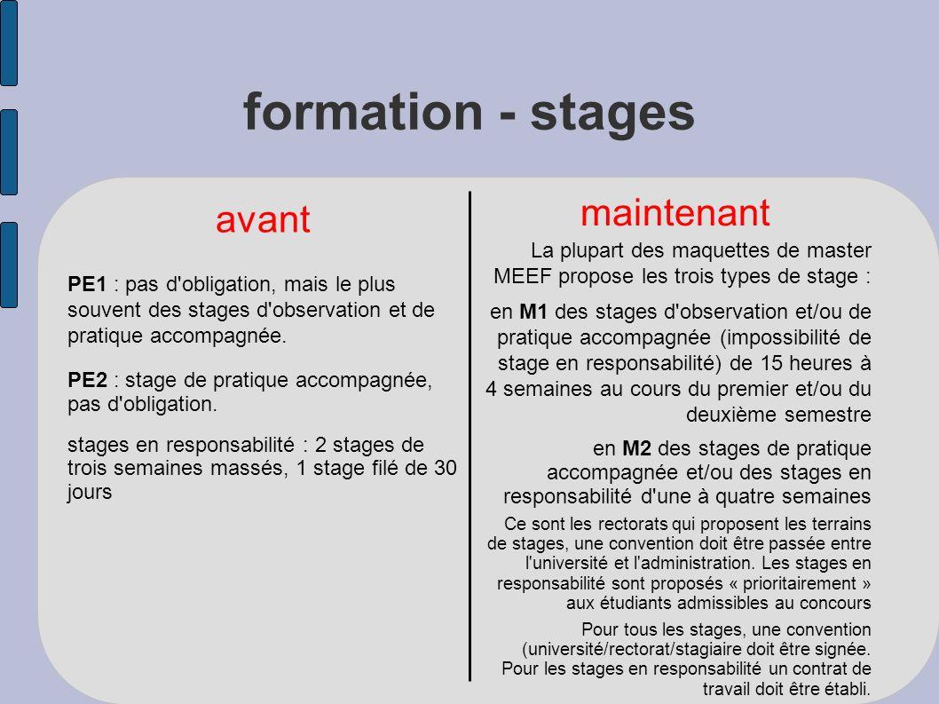 formation - stages avant maintenant PE1 : pas d obligation, mais le plus souvent des stages d observation et de pratique accompagnée.