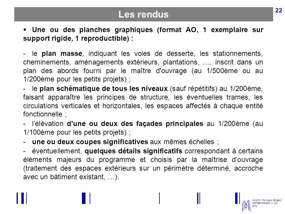 MIQCP / Formation ENSAM Dématérialisation – Juin 2010 22 Une ou des planches graphiques (format AO, 1 exemplaire sur support rigide, 1 reproductible)