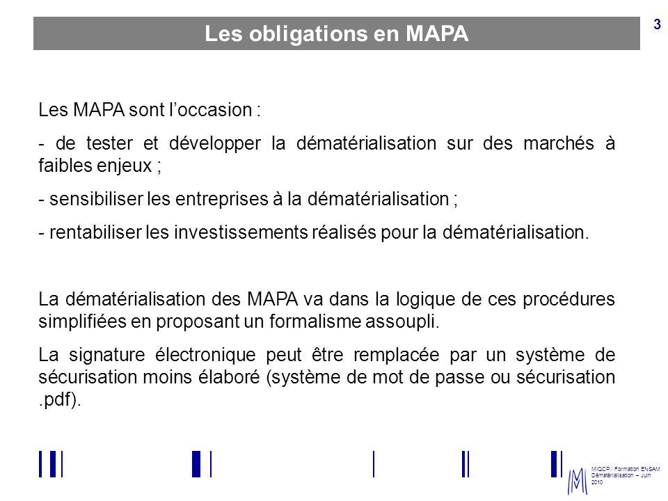 MIQCP / Formation ENSAM Dématérialisation – Juin 2010 3 Les obligations en MAPA Les MAPA sont loccasion : - de tester et développer la dématérialisati