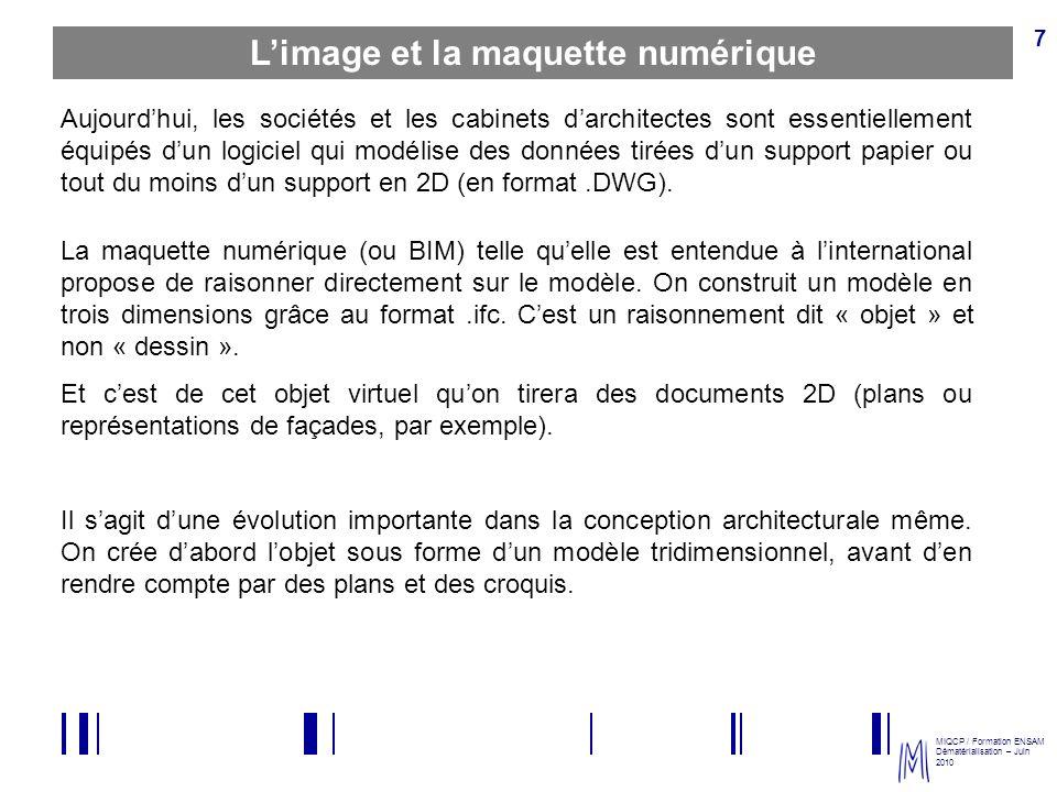 MIQCP / Formation ENSAM Dématérialisation – Juin 2010 8 Le BIM Building Information Modeling (BIM) est lautre nom de la maquette numérique.