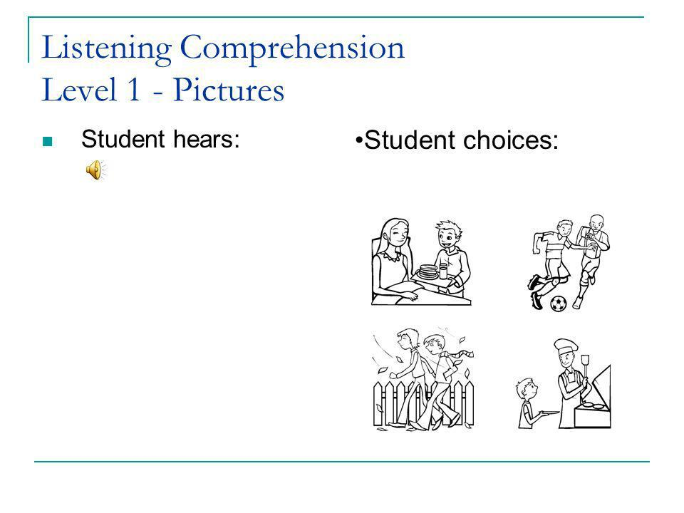 Listening Comprehension Level 1 - Pictures Student hears: Student choices:
