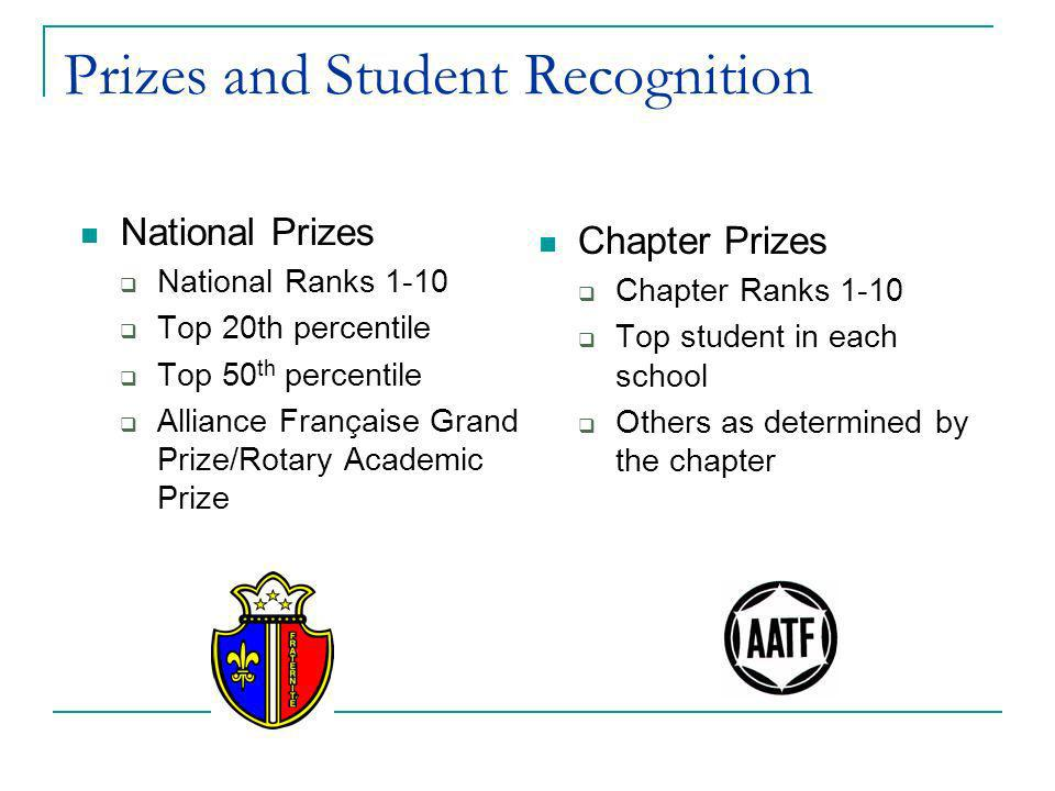 Prizes and Student Recognition Chapter Prizes Chapter Ranks 1-10 Top student in each school Others as determined by the chapter National Prizes Nation