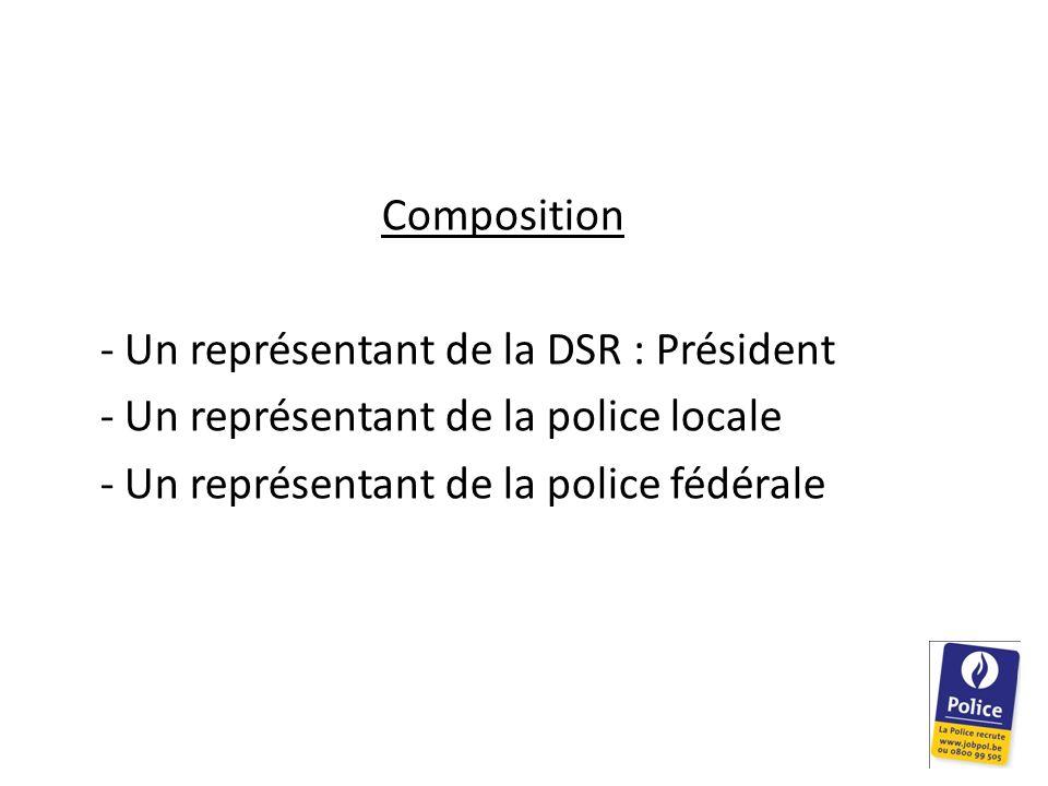 Composition - Un représentant de la DSR : Président - Un représentant de la police locale - Un représentant de la police fédérale