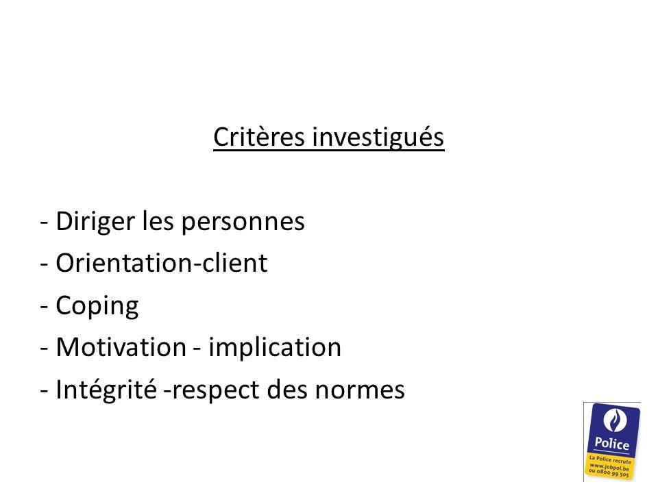 Critères investigués - Diriger les personnes - Orientation-client - Coping - Motivation - implication - Intégrité -respect des normes