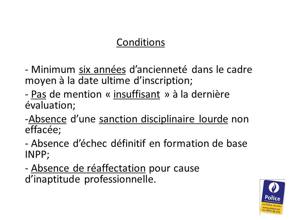 Conditions - Minimum six années dancienneté dans le cadre moyen à la date ultime dinscription; - Pas de mention « insuffisant » à la dernière évaluati