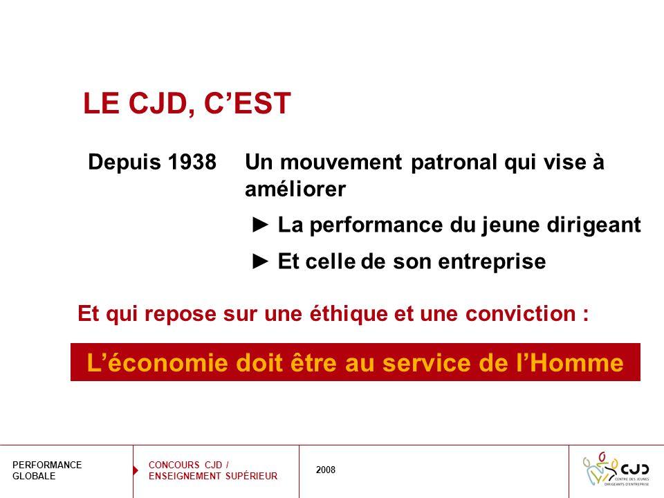 2 PERFORMANCE GLOBALE 2008 CONCOURS CJD / ENSEIGNEMENT SUPÉRIEUR LE CJD, CEST Un mouvement patronal qui vise à améliorer La performance du jeune dirig