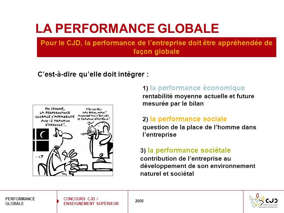 4 PERFORMANCE GLOBALE 2008 CONCOURS CJD / ENSEIGNEMENT SUPÉRIEUR LA PERFORMANCE GLOBALE 3) la performance sociétale contribution de lentreprise au dév
