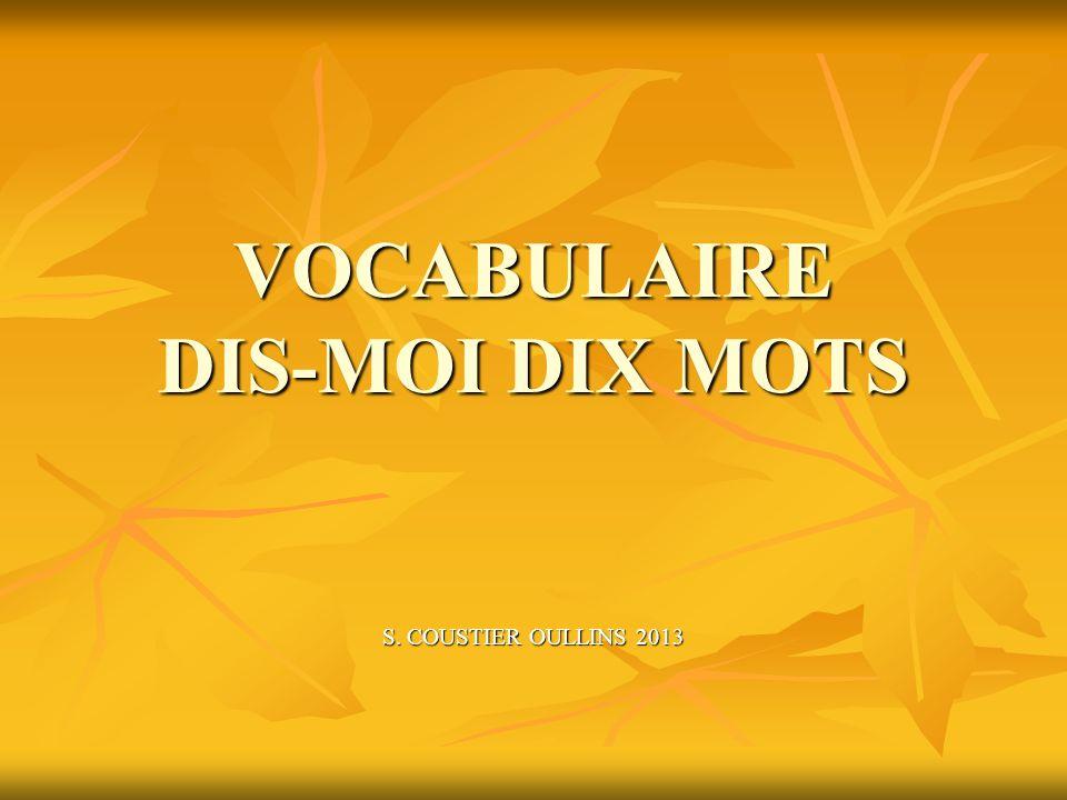 VOCABULAIRE DIS-MOI DIX MOTS S. COUSTIER OULLINS 2013