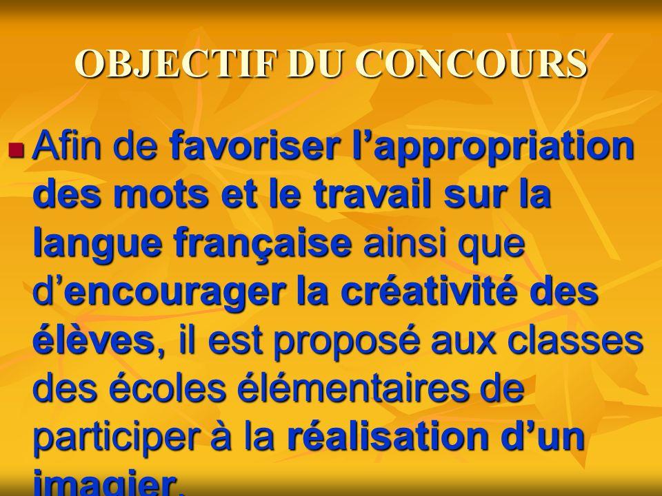 OBJECTIF DU CONCOURS Afin de favoriser lappropriation des mots et le travail sur la langue française ainsi que dencourager la créativité des élèves, il est proposé aux classes des écoles élémentaires de participer à la réalisation dun imagier.