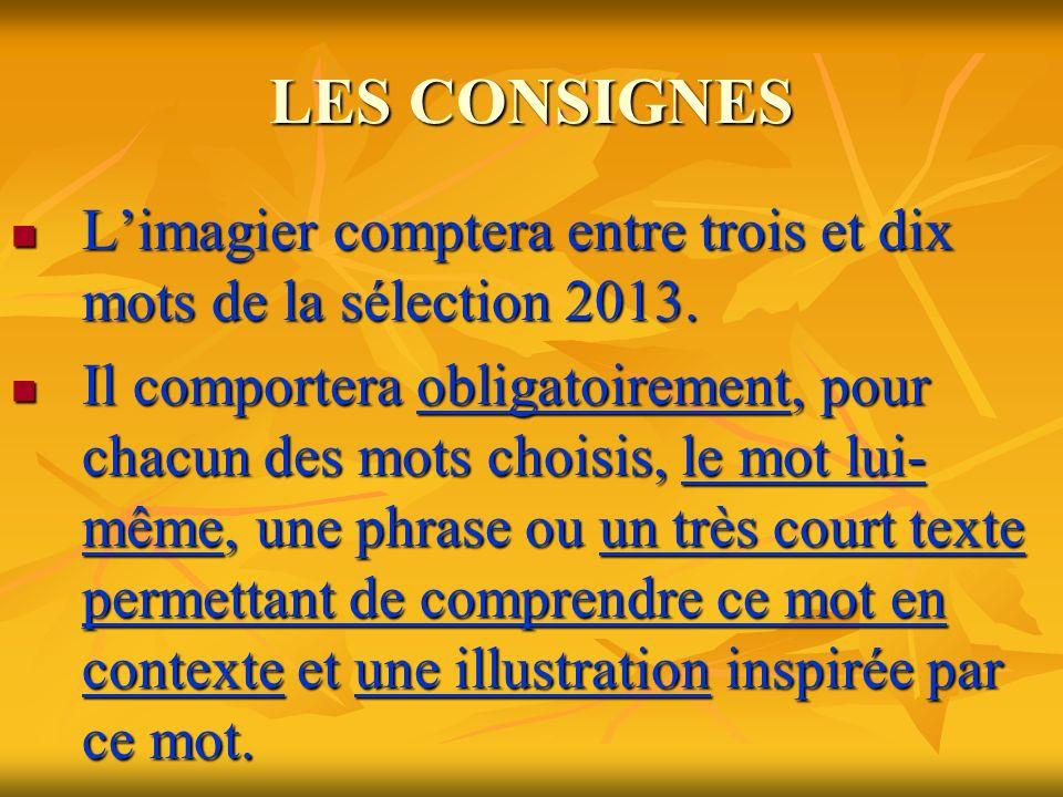 LES CONSIGNES Limagier comptera entre trois et dix mots de la sélection 2013.