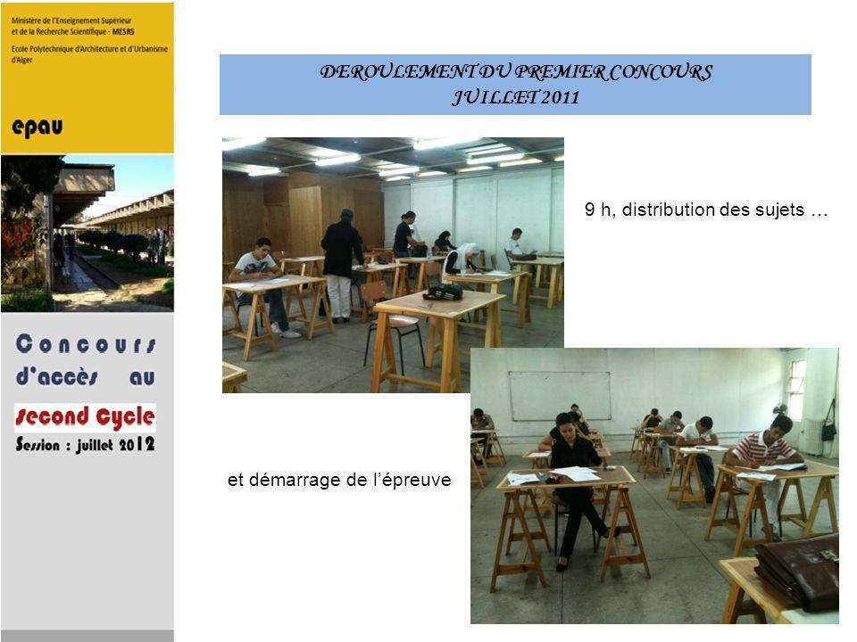 DEROULEMENT DU PREMIER CONCOURS JUILLET 2011 9 h, distribution des sujets … et démarrage de lépreuve