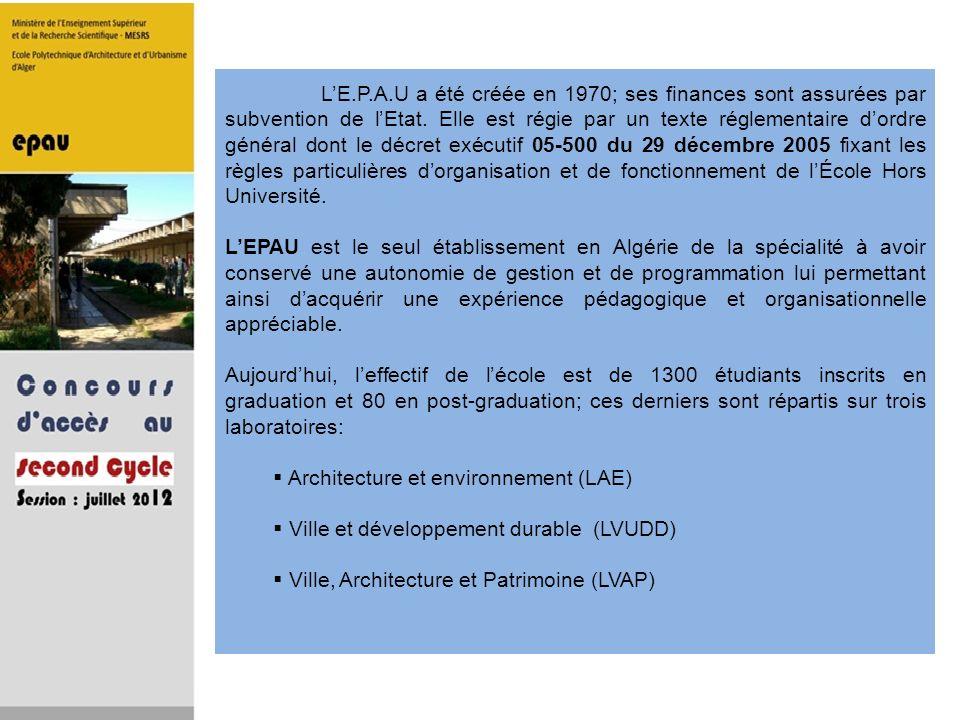 LE.P.A.U a été créée en 1970; ses finances sont assurées par subvention de lEtat. Elle est régie par un texte réglementaire dordre général dont le déc