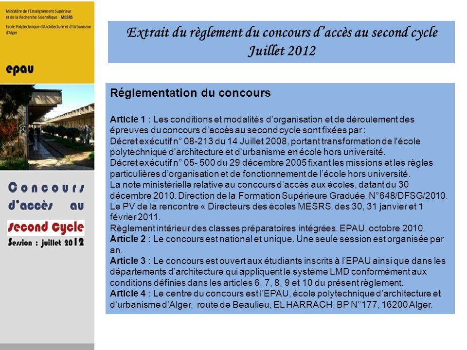 Réglementation du concours Article 1 : Les conditions et modalités dorganisation et de déroulement des épreuves du concours daccès au second cycle son