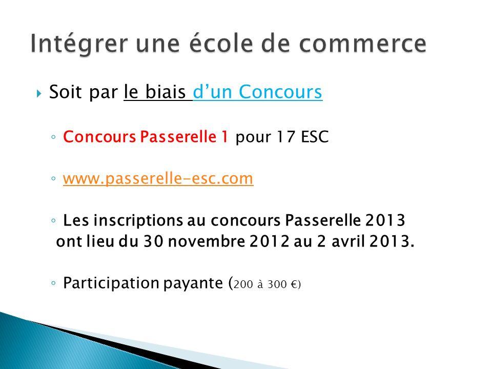 Soit par le biais dun Concours Concours Passerelle 1 pour 17 ESC www.passerelle-esc.com Les inscriptions au concours Passerelle 2013 ont lieu du 30 no
