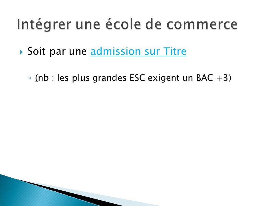 Soit par une admission sur Titre (nb : les plus grandes ESC exigent un BAC +3)