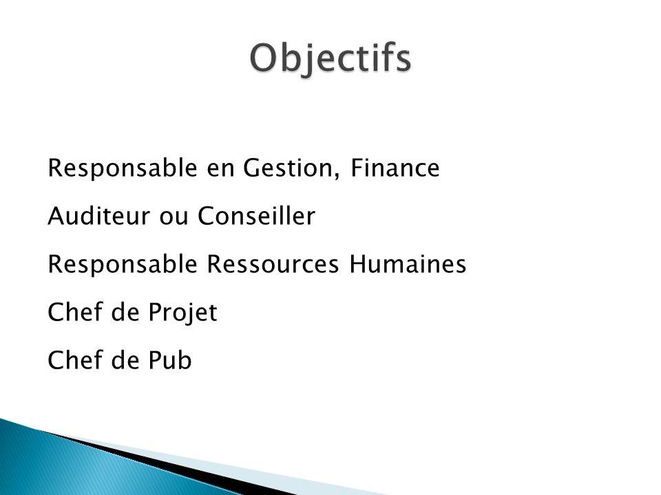 Responsable en Gestion, Finance Auditeur ou Conseiller Responsable Ressources Humaines Chef de Projet Chef de Pub