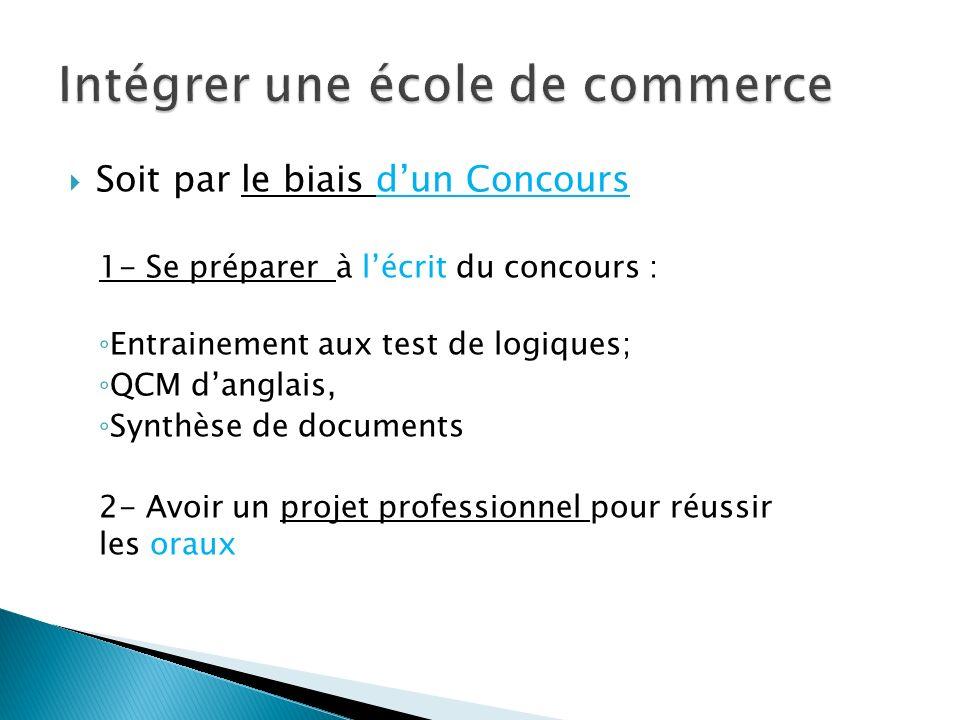 Soit par le biais dun Concours 1- Se préparer à lécrit du concours : Entrainement aux test de logiques; QCM danglais, Synthèse de documents 2- Avoir u