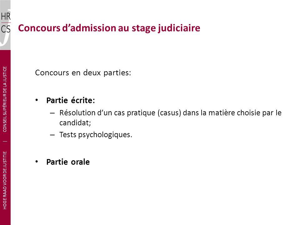 Concours en deux parties: Partie écrite: – Résolution dun cas pratique (casus) dans la matière choisie par le candidat; – Tests psychologiques.