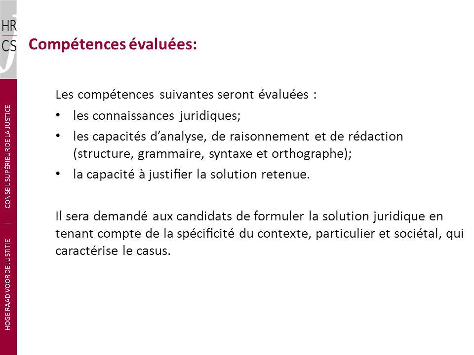 Compétences évaluées: Les compétences suivantes seront évaluées : les connaissances juridiques; les capacités danalyse, de raisonnement et de rédaction (structure, grammaire, syntaxe et orthographe); la capacité à justier la solution retenue.