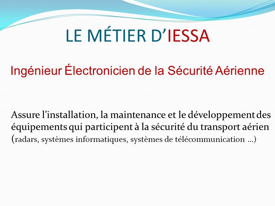 LE MÉTIER DIESSA Assure linstallation, la maintenance et le développement des équipements qui participent à la sécurité du transport aérien ( radars, systèmes informatiques, systèmes de télécommunication …) Ingénieur Électronicien de la Sécurité Aérienne