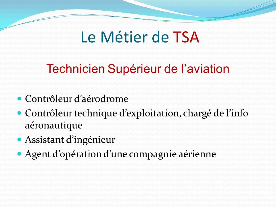 Le Métier de TSA Contrôleur daérodrome Contrôleur technique dexploitation, chargé de linfo aéronautique Assistant dingénieur Agent dopération dune compagnie aérienne Technicien Supérieur de laviation