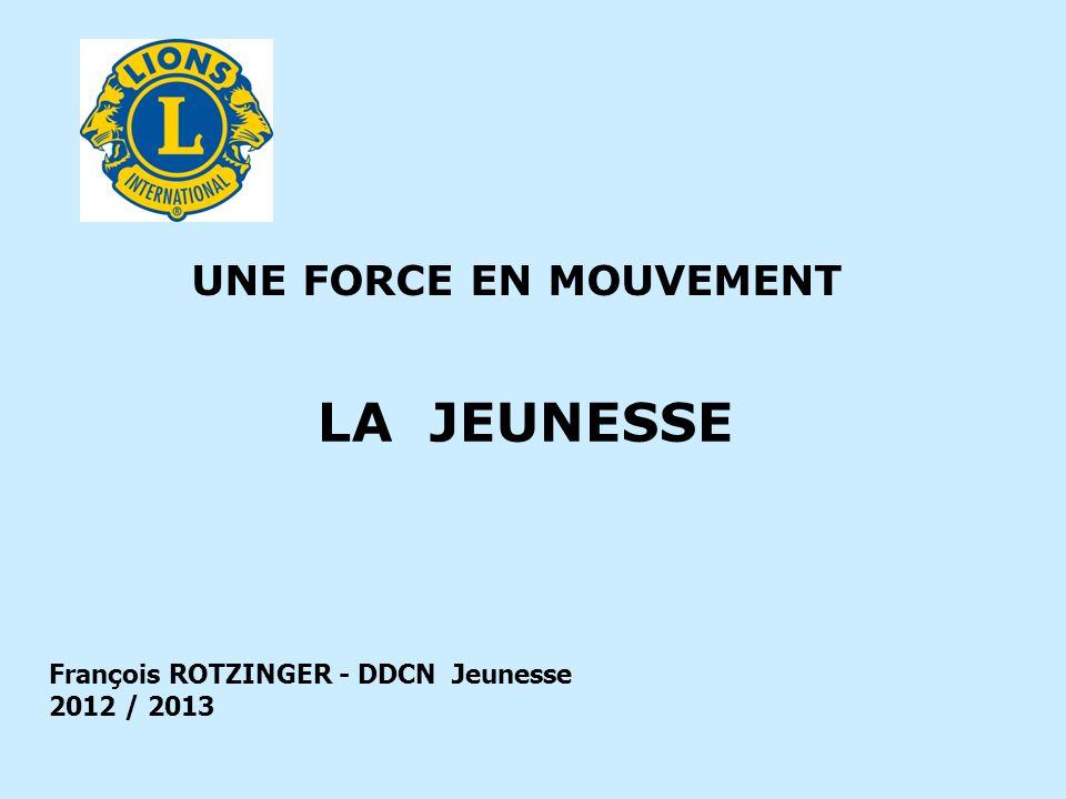 François ROTZINGER - DDCN Jeunesse 2012 / 2013 LA JEUNESSE UNE FORCE EN MOUVEMENT