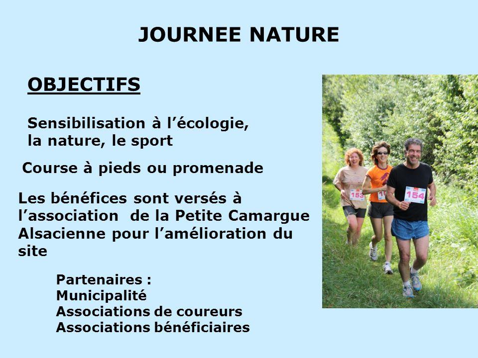 JOURNEE NATURE Sensibilisation à lécologie, la nature, le sport OBJECTIFS Course à pieds ou promenade Les bénéfices sont versés à lassociation de la P