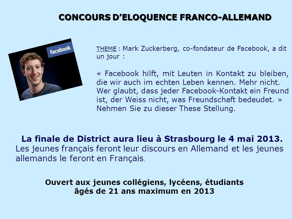 CONCOURS DELOQUENCE FRANCO-ALLEMAND Ouvert aux jeunes collégiens, lycéens, étudiants âgés de 21 ans maximum en 2013 THEME : Mark Zuckerberg, co-fondat
