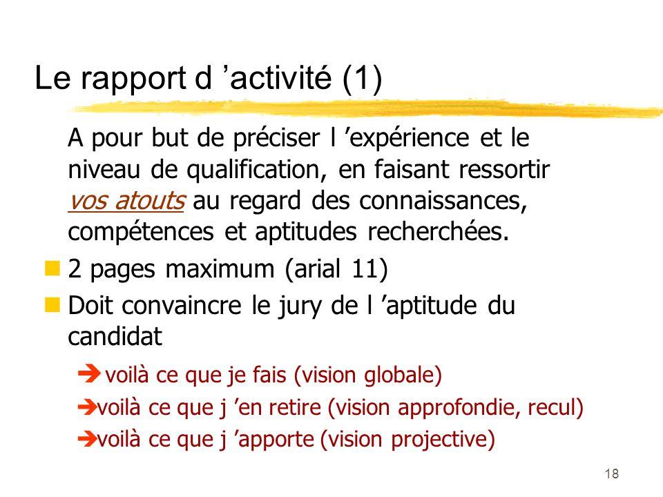 17 Le rapport d activité (obligatoire)
