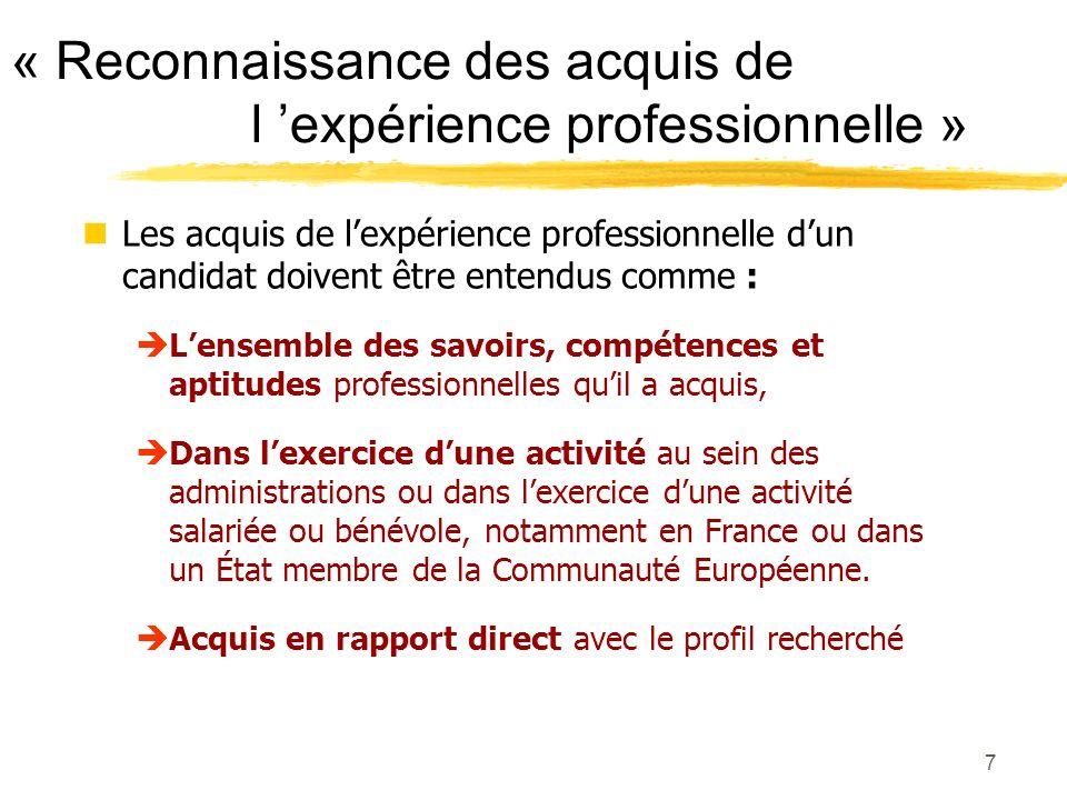 6 Porter à la connaissance du jury votre niveau de formation professionnelle et les acquis de lexpérience professionnelle.