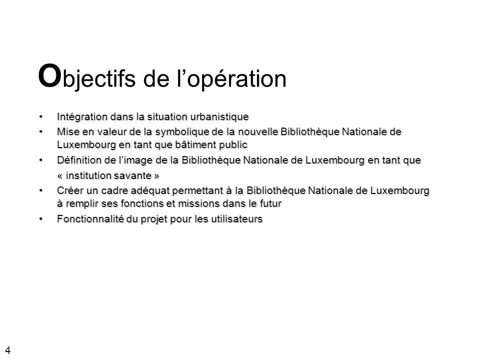 4 Intégration dans la situation urbanistiqueIntégration dans la situation urbanistique Mise en valeur de la symbolique de la nouvelle Bibliothèque Nat