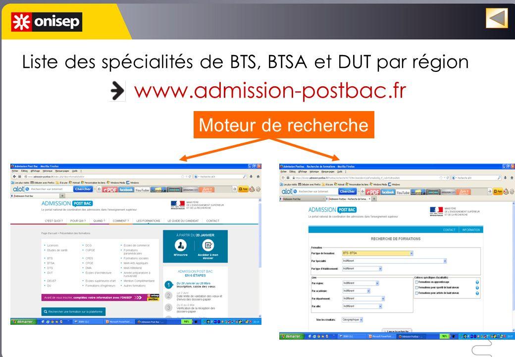 Liste des spécialités de BTS, BTSA et DUT par région www.admission-postbac.fr Moteur de recherche