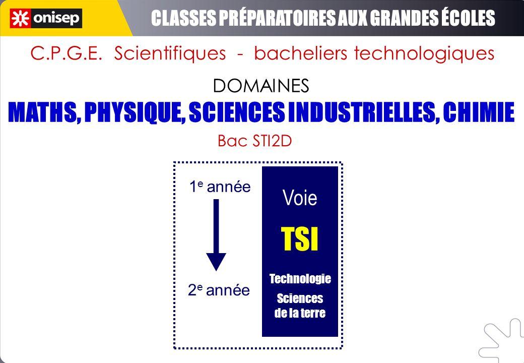 DOMAINES Voie TSI Technologie Sciences de la terre 1 e année 2 e année Bac STI2D C.P.G.E. Scientifiques - bacheliers technologiques