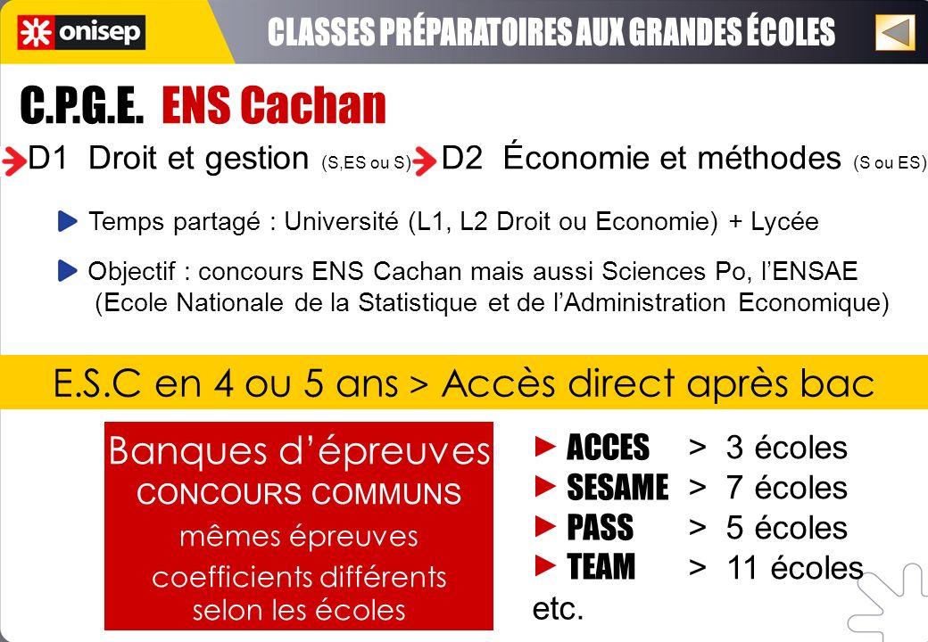C.P.G.E. ENS Cachan D1 Droit et gestion ( S,ES ou S ) D2 Économie et méthodes ( S ou ES ) Objectif : concours ENS Cachan mais aussi Sciences Po, lENSA