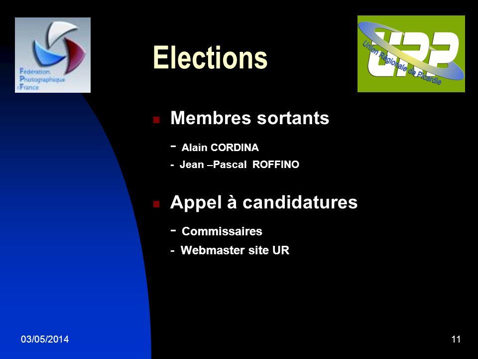 03/05/201411 Elections Membres sortants - Alain CORDINA - Jean –Pascal ROFFINO Appel à candidatures - Commissaires - Webmaster site UR