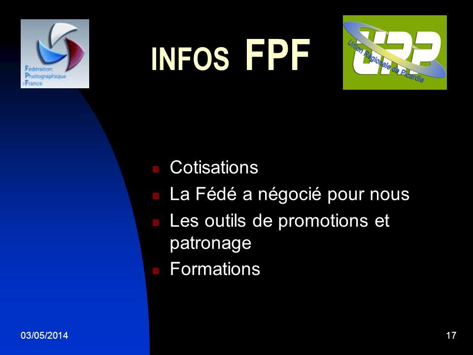 03/05/201417 INFOS FPF Cotisations La Fédé a négocié pour nous Les outils de promotions et patronage Formations