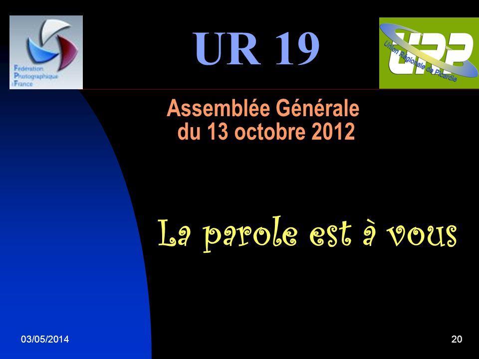 03/05/201420 Assemblée Générale du 13 octobre 2012 La parole est à vous UR 19