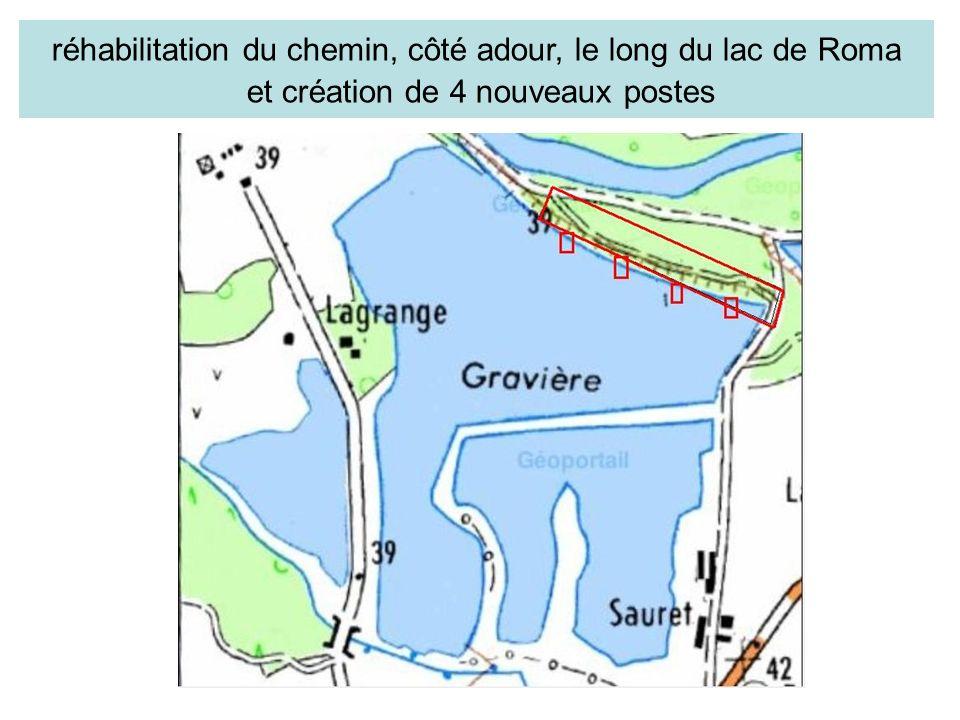réhabilitation du chemin, côté adour, le long du lac de Roma et création de 4 nouveaux postes