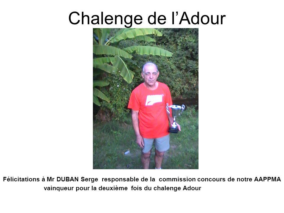 Chalenge de lAdour Félicitations à Mr DUBAN Serge responsable de la commission concours de notre AAPPMA vainqueur pour la deuxième fois du chalenge Ad