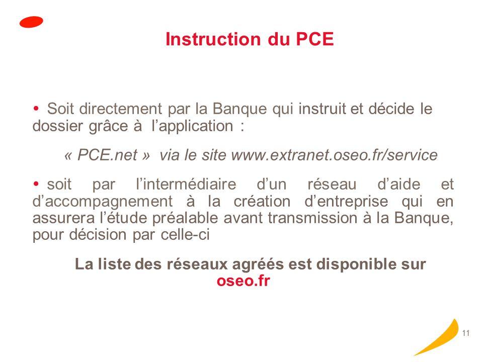 11 Instruction du PCE Soit directement par la Banque qui instruit et décide le dossier grâce à lapplication : « PCE.net » via le site www.extranet.ose