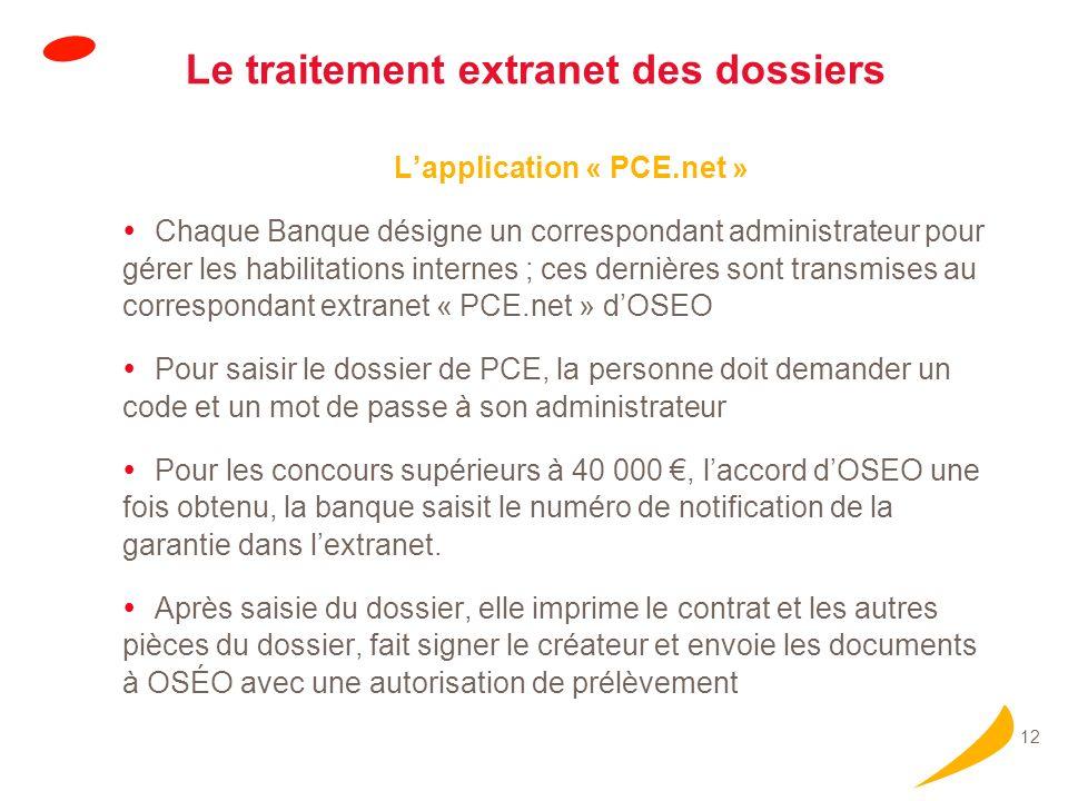 12 Le traitement extranet des dossiers Lapplication « PCE.net » Chaque Banque désigne un correspondant administrateur pour gérer les habilitations int
