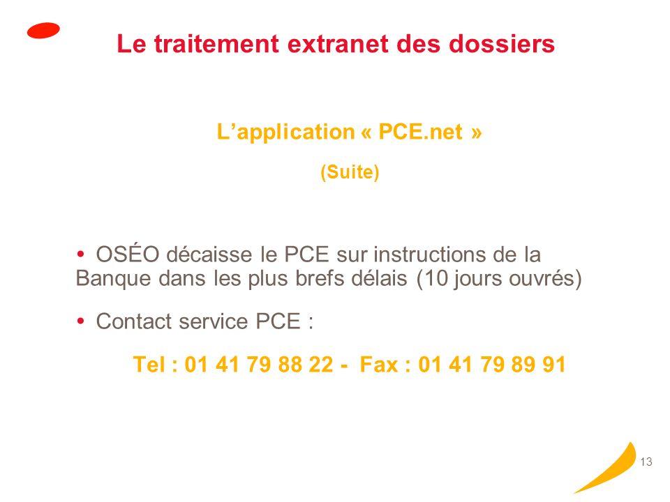 13 Le traitement extranet des dossiers Lapplication « PCE.net » (Suite) OSÉO décaisse le PCE sur instructions de la Banque dans les plus brefs délais