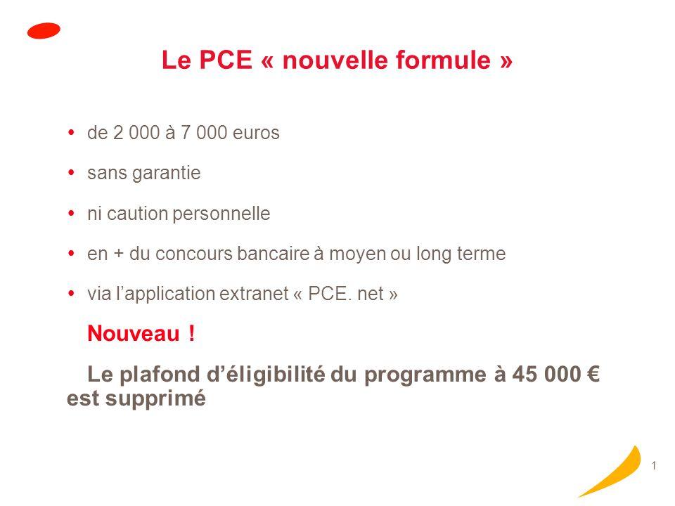 1 Le PCE « nouvelle formule » de 2 000 à 7 000 euros sans garantie ni caution personnelle en + du concours bancaire à moyen ou long terme via lapplica