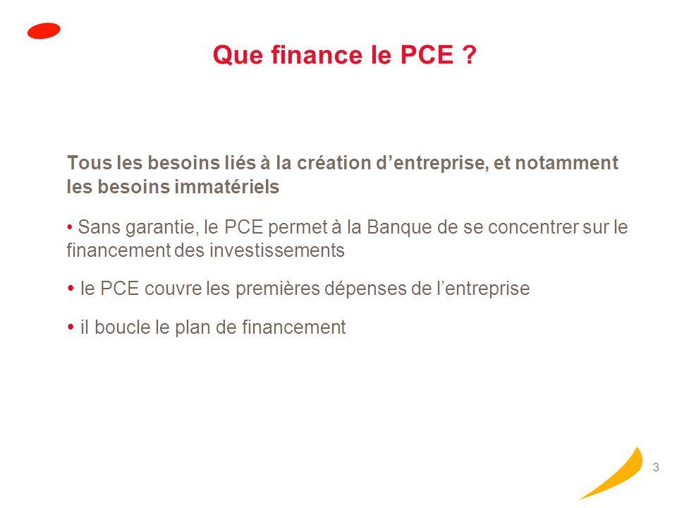 3 Que finance le PCE ? Tous les besoins liés à la création dentreprise, et notamment les besoins immatériels Sans garantie, le PCE permet à la Banque