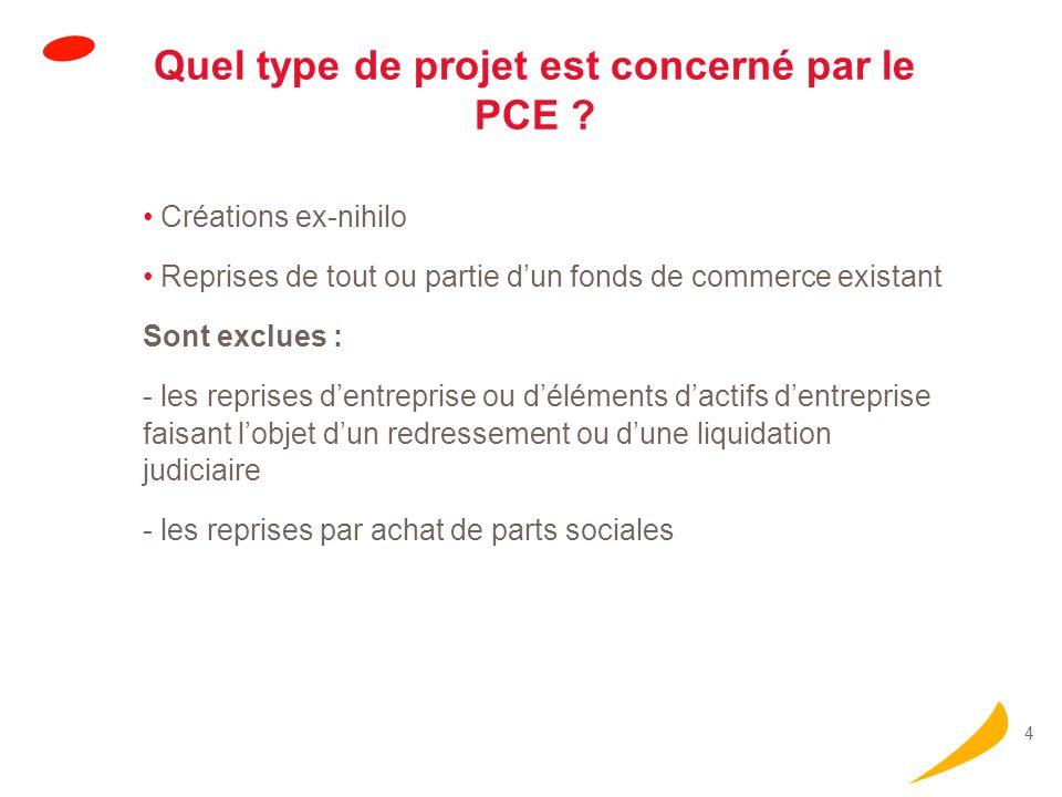 4 Quel type de projet est concerné par le PCE ? Créations ex-nihilo Reprises de tout ou partie dun fonds de commerce existant Sont exclues : - les rep