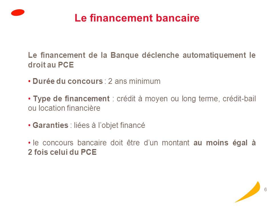 6 Le financement bancaire Le financement de la Banque déclenche automatiquement le droit au PCE Durée du concours : 2 ans minimum Type de financement