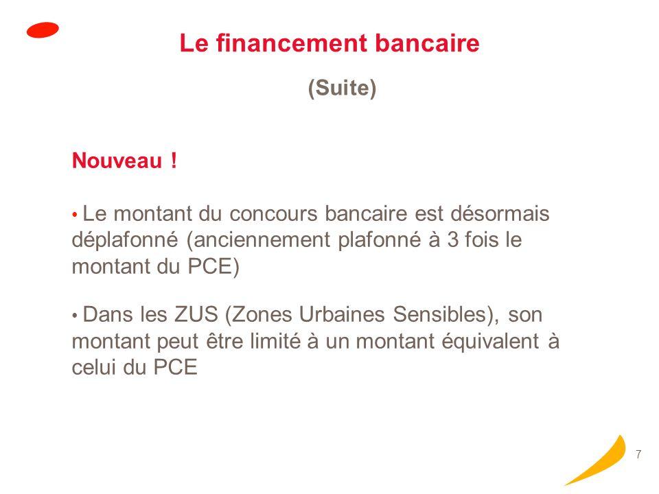 7 Le financement bancaire (Suite) Nouveau ! Le montant du concours bancaire est désormais déplafonné (anciennement plafonné à 3 fois le montant du PCE