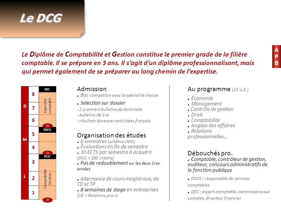 Le DCG Le D iplôme de C omptabilité et G estion constitue le premier grade de la filière comptable. Il se prépare en 3 ans. Il sagit dun diplôme profe
