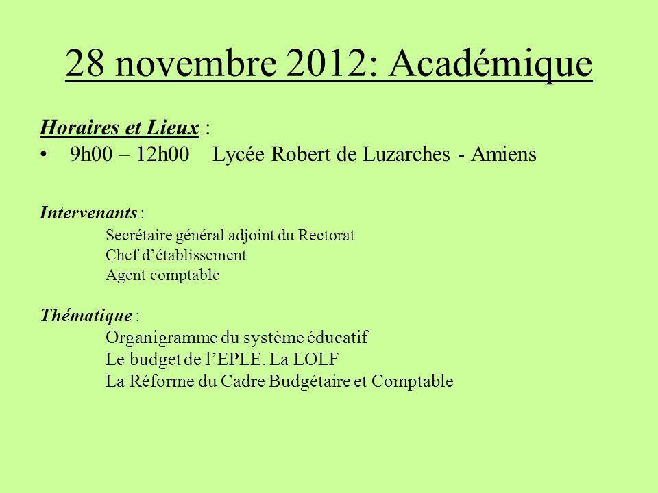 28 novembre 2012: Académique Horaires et Lieux : 9h00 – 12h00 Lycée Robert de Luzarches - Amiens Intervenants : Secrétaire général adjoint du Rectorat