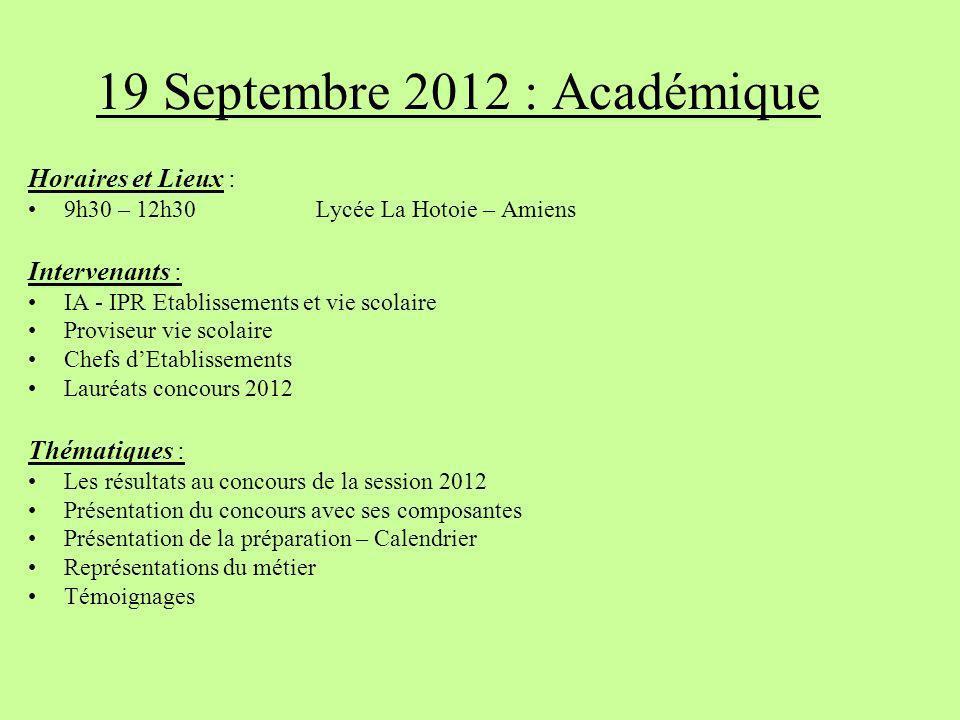 19 Septembre 2012 : Académique Horaires et Lieux : 9h30 – 12h30 Lycée La Hotoie – Amiens Intervenants : IA - IPR Etablissements et vie scolaire Provis